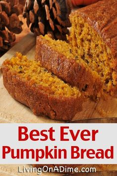 This best ever pumpkin bread recipe is great in the fall! You can make this easy recipe into muffins or cupcakes and serve it with our delicious honey butter! This is almost identical to my Mama's recipe. Easy Pumkin Bread, Pumpkin Zucchini Bread, Healthy Pumpkin Bread, Gluten Free Pumpkin Bread, Pumpkin Spice Bread, Pumpkin Banana Bread, Pumpkin Break Recipe, Pumpkin Bread Recipe Pioneer Woman, Bread Recipes