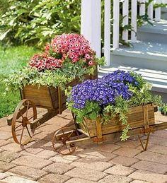 Yard decor - love the old wheelbarrows....
