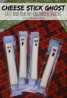Spread the love Healthy Halloween Treat Ideas For Kids ~ Cheese Stick Ghost These are so easy to make and perfect for school parties. I saw these for the first time last year when my son got one in preschool, he loved it. They are so easy to make and an Halloween Treats For Kids, Halloween Desserts, Halloween Food For Party, Halloween Decorations For Kids, Fall Party Treats For Kids, Fall Party Ideas For Kids School, Halloween Birthday Parties, 5th Birthday, Hallowen Treats