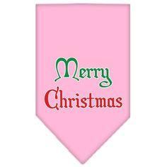 Merry Christmas Screen Print Bandana Light Pink Large
