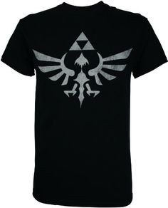 This cool Zelda t-shirt features the Triforce logo from the Legend of Zelda video game series! The Triforce symbol is distressed: this means that the design deliberately features faded and worn spots, designed to give the shirt a vintage look. Standard mens size tee. Shoulder-to-shoulder taped, sleeve and bottom hem are double-needled. 100% cotton. Officially licensed.