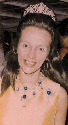 Eva Benita, Princess Schaumburg Lippe, wearing the family diamond tiara, and sapphire necklace.