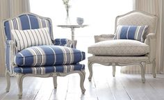 Blue and white chair, French country decor Blue Rooms, White Rooms, Romo Fabrics, Striped Chair, Bergere Chair, French Chairs, French Country Chairs, Chair Fabric, Chair Cushions