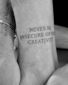 """Never be insecure of your creativity"" tattoo on Jay Alvarrez's left ankle."
