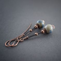 Ceramic Earrings • Elongated • Rustic Jewelry • Copper Wire Wrapped • Boho • Frosted Black • Tribal Earrings • Oxidized • Aged • Artisan