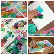 Simple art video lessons for projects for kids, craft pr Projects For Kids, Crafts For Kids, Arts And Crafts, Art Journal Pages, Portraits For Kids, Self Portrait Kids, Collage Portrait, Collage Art, Easy Art Lessons
