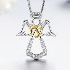 Guardian Angel Chokers 925 Sterling Silver Necklace for Women - Sparkle Trendyol Angel Pendant, Heart Pendant Necklace, Necklace Chain, Guardian Angel Necklace, Mens Silver Necklace, Silver Earrings, Silver Shop, Blue And Silver, 925 Silver