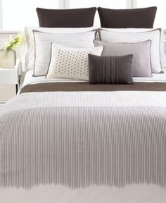 Vera Wang Bedding, Solid White Ribbon Stripe King Fitted Sheet