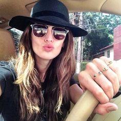Izabel Goulart hat sunglasses brunette car rings vintage yeah