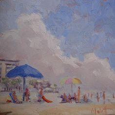 Plein Air Florida Beach Figures Umbrellas Ocean Spray Clouds Buildings by Heidi Mallot