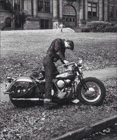 Vintage Motorcycles Greaser leaving high school on his Harley - - Vespa, Vintage Bicycles, Vintage Motorcycles, Old Pictures, Old Photos, Vintage Photographs, Vintage Photos, Greaser Style, 50s Greaser