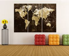 Metalic black backgrounded large wall art world map canvas print world map canvas art print 3 panel split large wall art canvas for living room world map art no9s55 gumiabroncs Image collections