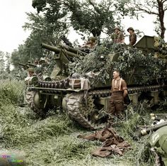 A battery of M7 Priest 105mm self-propelled guns from 33rd Field Regiment, Royal Artillery, 3rd Infantry Division in support near Hermanville-sur-Mer, Normandy