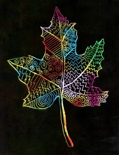 Scratch Art Leaf · Art Projects for Kids - Çoçuk Fall Art Projects, School Art Projects, Projects For Kids, Project Projects, Kratz Kunst, Scratch Art, Autumn Art, Leaf Art, Art Lesson Plans