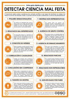 Infografía que explica como detectar erros e enganos en artigos e estudos científicos.