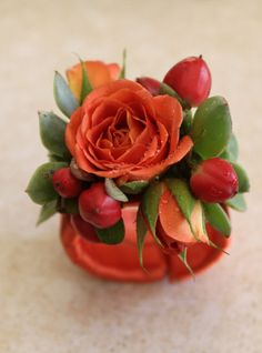 Kelly's wrist corsage - cluster roses, succulents & berries