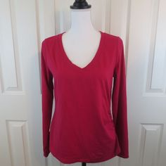 Athleta Fuchsia Knit V Neck Top LARGE Ruched Side Workout Athletic Track Ladies  #Athleta #ShirtsTops