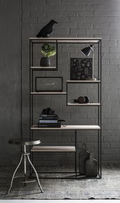 Hide your internet modem (or other shelved eyesores) by creating a bookcase cover compartment. Steel Furniture, Industrial Furniture, Diy Furniture, Furniture Design, Bookcase Shelves, Metal Shelves, Shelving, Wood Steel, Wood And Metal