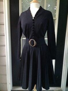 True Vintage Lilly Diamond Dress Pleated Knit 10/12 Long Sleeve Black Cocktail  #LillyDiamond