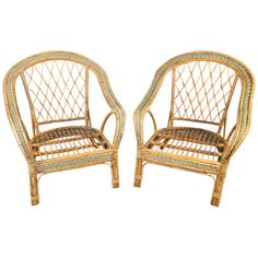Early 20th Century Pair of French Wicker Armchairs | From a unique collection of antique and modern armchairs at https://www.1stdibs.com/furniture/seating/armchairs/