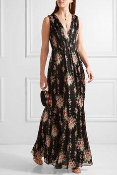 Alice Olivia - Ava Lace-paneled Floral-print Silk Maxi Dress - Black Floral c1a8ed9bdcbc