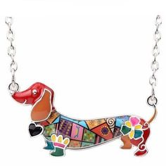 Bonsny Enamel Statement Maxi Pet Dachshund Dog Choker Necklace Alloy Pendant Chain Collar 2018 New Animal Jewelry For Women Gift (AE) Dog Necklace, Necklace Types, Pendant Necklace, Gold Pendant, Necklace Charm, Necklace Price, Initial Pendant, Diamond Pendant, Dachshund Breed