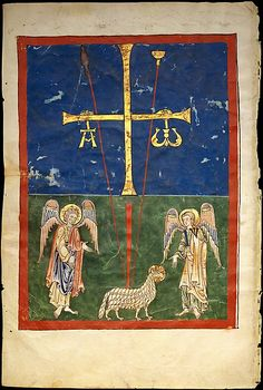 Leaf from a Beatus Manuscript: the Lamb at the Foot of the Cross, flanked by Two Angels; The Calling of Saint John with the Enthroned Christ flanked by Angels and a Man Holding a Book, ca. 1180, Spanish.