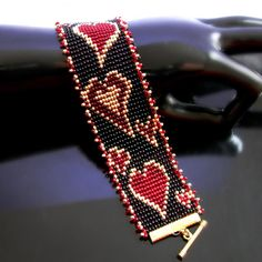 Bead loomed bracelet Crazy hearts by CatsWire on Zibbet