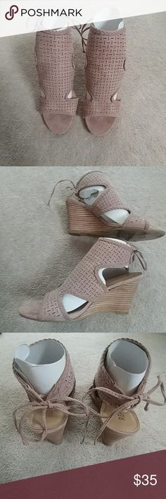 Report Sedona Blush Wedges - Worn Once Report Sedona Blush Wedges Laser cut upper in blush faux suede; Tie-back closure; 3 inch wedged heel. Beautiful shoe but just didn't fit me right as I have wide feet. Only wore them once for a couple of hours. Report Shoes Wedges