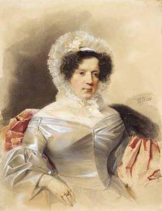 В.Гау   Портрет неизвестной дамы в белом платье и кружевном чепце. 1837
