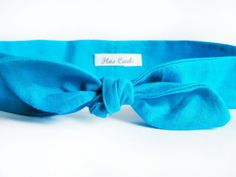 Turquoise Cotton Headband  Bow Hair Wrap  Tie Up by FlosCaeli, $10.00