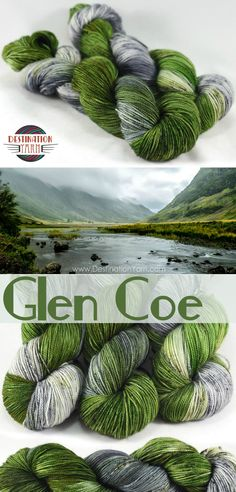 The gorgeous green landscape against the rugged gray, volcanic rocks. This highland area was recently voted the Most Romatic Glen in all of Scotland. Hand dyed, fingering / sock weight yarn perfect for knitting, crochet, and DIY craft projects! #yarn #knitting #crochet #crafts