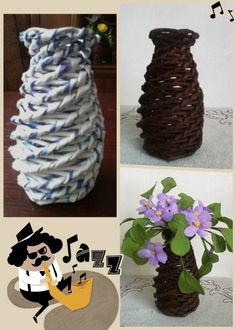 DIY Recycled Newspaper Vase with Paper Violets