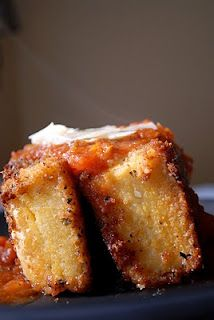 Fried grits cakes. Serve with shrimp. I don't usually like fried foods but this looks interesting.