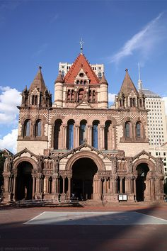 "Trinity Church: Probably the most prominent landmark on the square is Trinity Church, designed by Henry Hobson Richardson and built between the years of 1872-1877. The style of the   Trinity Churchchurch has come to be known as ""Richardson Romanesque"" and has served well to establish the architect's fine reputation. Its clay roof, huge arches, and tall tower seem more reminiscent of Europe than 19th century America. It is continually lauded as one of the top ten buildings in America."