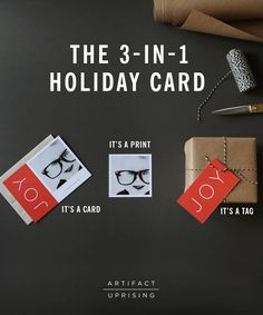 Introducing the Artifact Uprising 3-in-1 Holiday Cards | It's a greeting card, a photo print and a gift tag - all in one. | Coming October 9