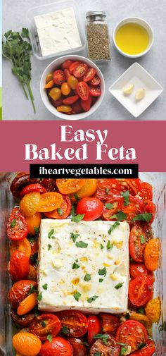 This baked feta cheese with tomatoes is a deliciously simple appetizer. Salty feta pairs perfectly with sweet, juicy summer tomatoes. Add a drizzle of olive oil and sprinkle of herbs and you're ready to serve this delicious dish! Cheesy Recipes, Real Food Recipes, Vegetarian Recipes, Healthy Recipes, Healthy Foods, Yummy Food, Sauce Recipes, Healthy Eats, Meat Appetizers