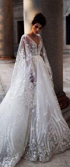 Long sleeves deep v neck embellishment a line wedding dress long train #wedding #weddingdress #weddinggown #bridedress #bridalgown #weddingdresses