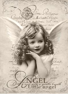 New Vintage Angel Digital collage P1022 free for personal use: