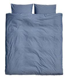 Cotton Chambray Duvet Set   Gray blue   Home   H&M US