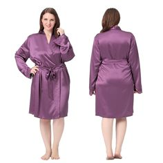 Fashionable  Lacey Cuff Short Silk Robe Plus Size.| Lilysilk