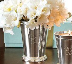 I love monogrammed mint julep cups