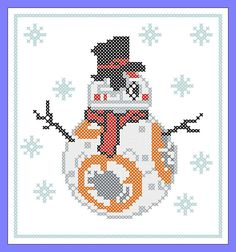 BOGO FREE! Merry Christmas - FUNNY Snowmаn Droid BB8 Star wars Cross Stitch Pattern - pdf pattern in Merry Christmas Funny, Christmas Humor, Christmas Cross, Christmas Perler Beads, Star Wars Christmas, Xmas Cross Stitch, Cross Stitch Embroidery, Cross Stitch Love, Cross Stitch Designs