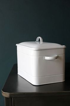 White Metal Breadbox