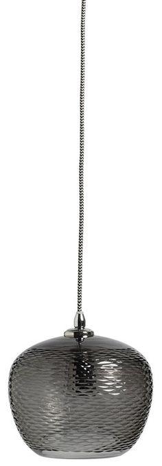 Glazen hanglamp TENDENCE  met handbewerkt smoke glazen kapje van Nordal shop je hier online