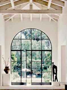 """House Tour: Southern California Modern Home - """"Zimmer mit Aussicht"""" – by www. Steel Doors And Windows, Arched Doors, Big Windows, Iron Windows, Barn Doors, Black Windows, Entry Hall, Entrance Doors, Arched Windows"""