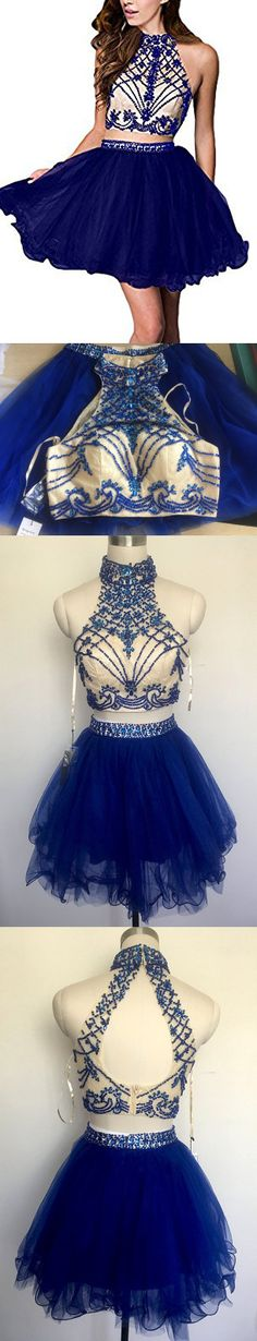short homecoming dresses,A-line High Neck Short Mini Tulle Short Prom Dress Homecoming Dresses