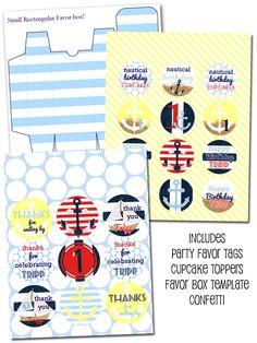Nautical Party Printables, Nautical Printables, Boy Party Printables, Beach Party Printables from Party Box Design