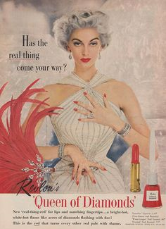 I have such a perpetual love of elegant, stunningly pretty grey haired women like the beauty in this vintage Revlon make-up ad.