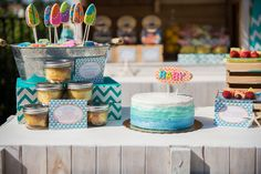 Beautiful ruffle cake at a Beach baby shower!   See more party ideas at CatchMyParty.com!  #partyideas  #babyshower
